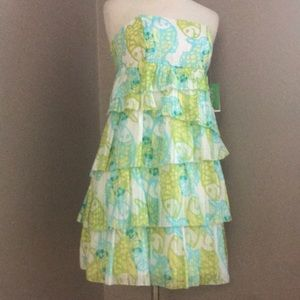NWT STRAPLESS TIERED DRESS BY LILLY PULITZER